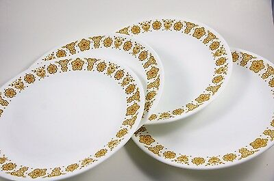 """Vintage Corelle Butterfly Gold Large 10-1/4"""" Dinner Plates, Set Of 4, by Corning"""