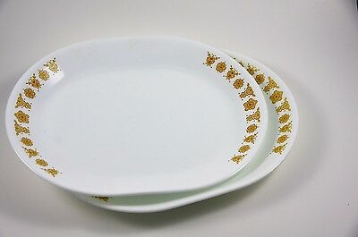 """Vintage Corelle Butterfly Gold Large 12"""" Serving Plate, Set Of 2, by Corning"""