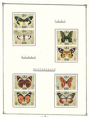 Dubai 1981 Collection Very Fine Precancel Stamps Hinged on list . Butterflies