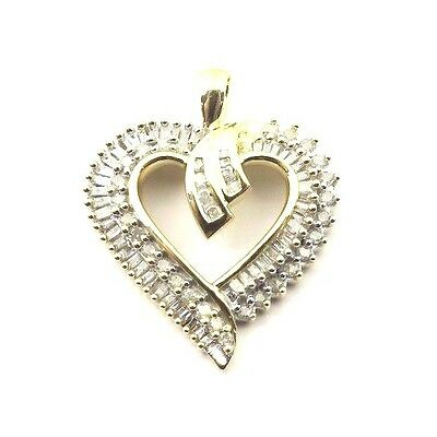 10k Yellow Gold Diamond Heart Pendant 1.00ct With Round Cut & Baguette Diamonds