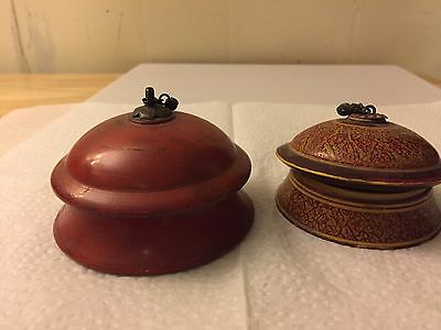 Pair of Japanese Laquer Trinket Boxes w/Brass Tassel Lid Pulls