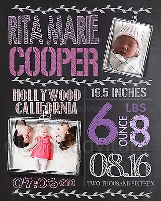 Custom Personalized Chalkboard Baby Birth Announcement Card Photo GIRL pink 2
