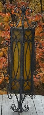 VTG Amber Spanish Revival Gothic Wrought Iron Lights Hanging Pendant Swag Lamps