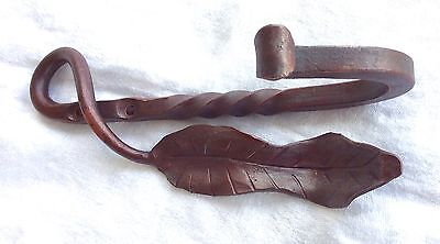 Heavy Duty Iron Wall Hook - hammer sculpted leaf - twist in mahogany red patina