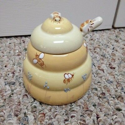 Block China Buzz Buzz by Deb Mores Bumblebee Sugar Bowl with Spoon and Lid