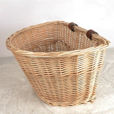 Racing Bicycle Bike Cycling Classic Wicker Basket With Leather Straps UK