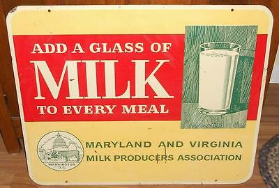 RARE ORIGINAL METAL 1950/60s Add a Glass of Milk to Every Meal Double Sided Sign