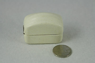 Antique Ring Box Domed White Leather Metal Ben Moss Jewelers Winnipeg Rectangle