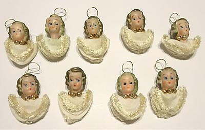 Vintage Flapper Angels Rubber Face White Christmas Tree Ornaments