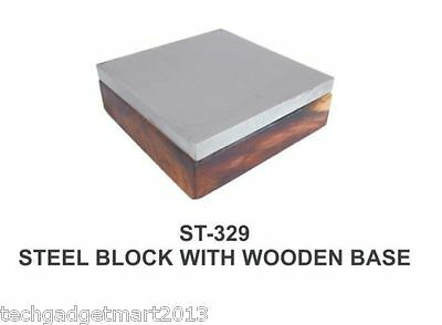 "Steel Block 4"" On Wooden Base St329"