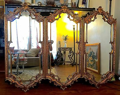 Large Antique Rococo Ornate Carved Gilded wood Mantle Triple Panels MIRRORS