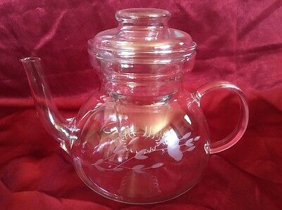 Princess House Crystal HERITAGE Tea Pot With Infuser & Lid Etched Floral Pattern