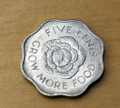 1972 Seychelles 5 Cents Cabbage head