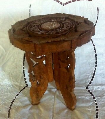 Ornate carved wooden Indian folding table