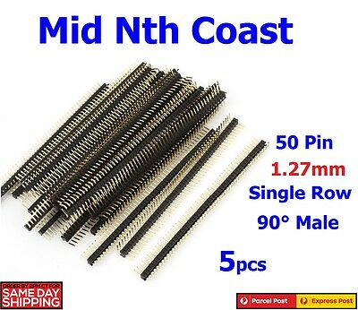 5 x 50 Pin Single Row Right Angle Male Header Strip 1.27mm Pitch