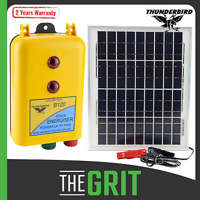 Thunderbird Solar Panel & B120 Battery Electric Fence Energiser Farm Charger