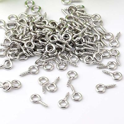 200 8mm Silver Screw Eyepin Bail Finding Resin Pendant Picture Frame Wall Hook K