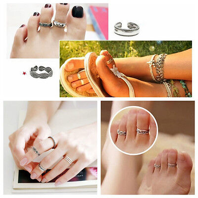 New Celebrity Simple Retro Flower Design Adjustable Toe Ring Foot Jewelry
