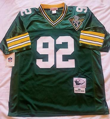 Green Bay Packers Reggie White #92 Green Throwback Jersey Authentic Sewn Nwt
