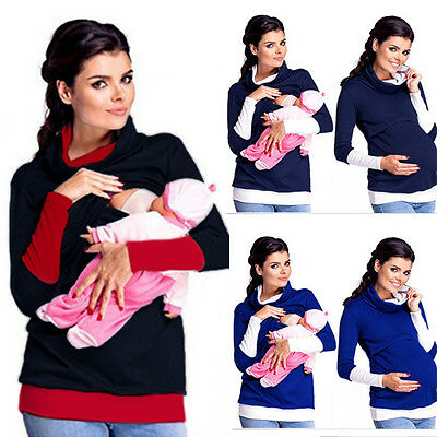 2in1 Maternity & Nursing Warm Hoodie Pregnancy Breastfeeding Top Size 8-18