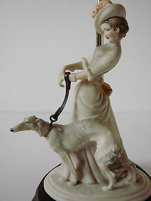 Beautiful Capodimonte Lady with a Dog Figurine Table Lamp - Signed