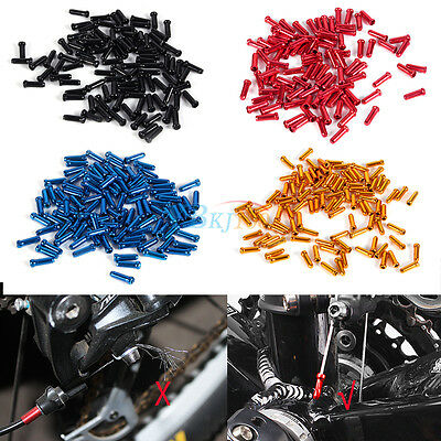 Aluminum Bike Bicycle Shifter Brake Cable Tips Caps Ends Crimps 100pcs 5 Colors