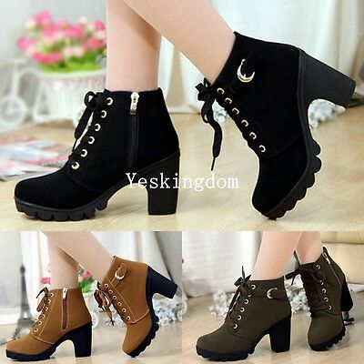 Ladies Womens Lace Up Chunky Mid Block Heel Grip Sole Ankle Boots Zip Up Shoes
