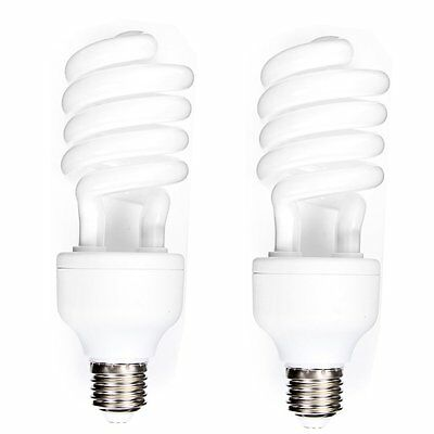 2pcs 45W 220V E27 CFL Light 5500K Daylight Photo Studio Spiral Bulb Home Lamp