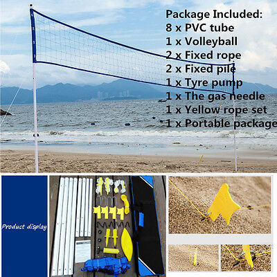 Pro Beach Volleyball Net System Portable Set Adjustable Posts Ball Hand Pump New