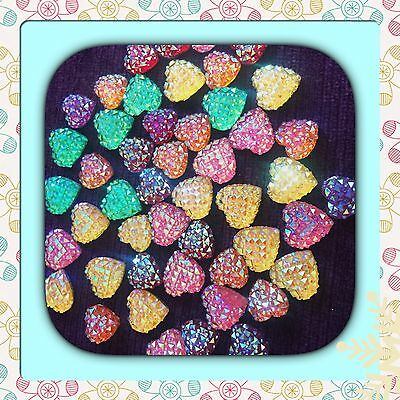��Flat Back Ab Pink blue,Frosty x 20 Resin Hearts Cabochons For All Crafts