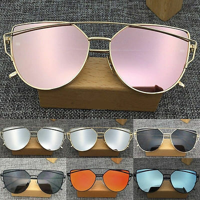 Women Retro Metal Frame Mirrored Sunglasses Oversized Cat Eye Glasses Eyewear CA