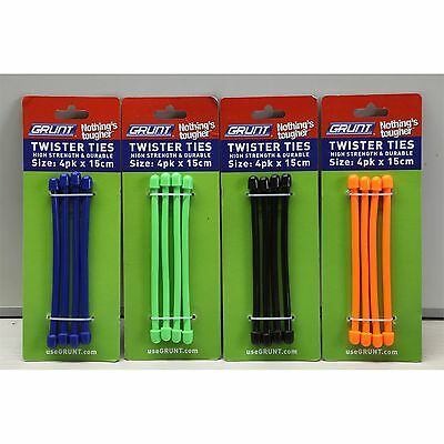 Grunt TWISTER TIES Protective Cover *Aust Brand- Black, Green, Orange Or Blue