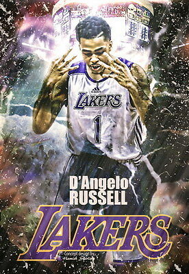 "024 La Lakers - D Angelo Russell NBA Basketball 14""x20"" Poster"