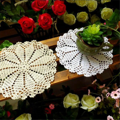 8'' Cotton Yarn Hand Crochet Lace Doily Placemat Round 20CM White Table Cup Mat