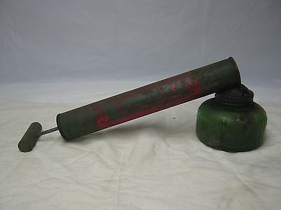 Vintage Working Root Lowell Atomizer Bug Sprayer Green Glass Jar Wood Handle