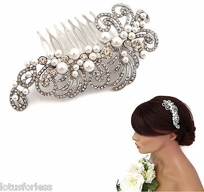 Beautiful Vintage Style Pearl Crystal Silver Tone Hair Comb Slide Bridal Prom