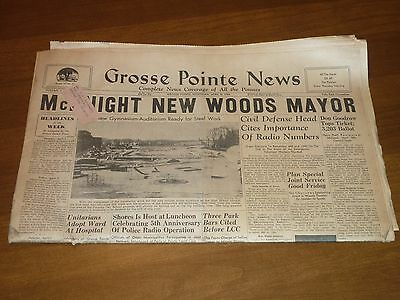 Old Grosse Pointe News Detroit Free Press Newspaper April 8th 1954 Farms Woods