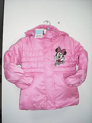 Bnwt Girls Disney Minnie Mouse. Pink Coat. Hooded Age 2-8 Years