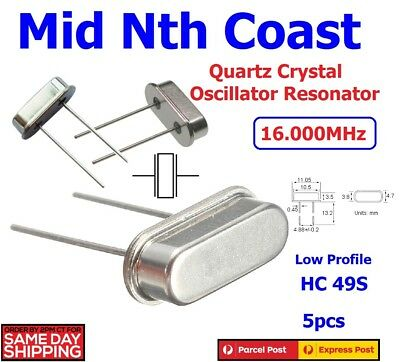 5 x 16mHz Crystal Oscillators HC49S Quartz Low Profile  PI Arduino