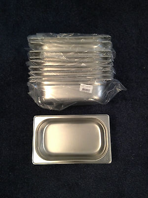 10 STAINLESS STEEL 1/4 GASTRONORM PAN 65mm DEEP 265mm LENGTH 160mm WIDTH