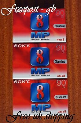 SONY P5-90MP VIDEO 8 / 8mm / Hi8  VIDEO CAMCORDER TAPES / CASSETTES - PACK OF 3