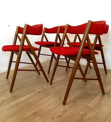 Stunning Mid Century Danish Teak Dining Chairs set of 4 1960's 1970's COURIER