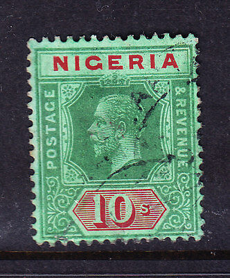 NIGERIA GV SG11 10/- green & red on blue gr white back die I wmk MCA f/u cat£180