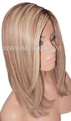 """Glueless Remy Human Hair Wig Front Lace 14"""" Medium Brown Blonde 4 6 613 Silk Top"""