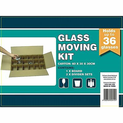 Betani GLASS MOVING KIT Holds Up to 36 Glasses, Board & 2 Divider Set 60x30x30cm