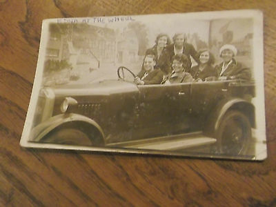 Vintage Real Photo Postcard Of 6 Young Ladies In A Motor Car Vehicle