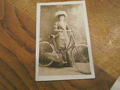 Vintage Real Photo Postcard Of Lady With Bicycle - Cycle - Bike