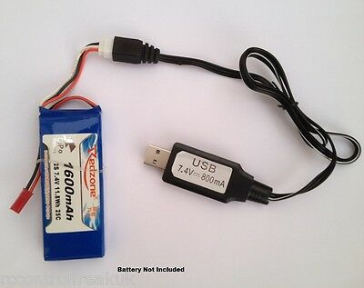 New 7.4V Lipo RC Battery USB Charger Cable Li-polymer & Li-ion Batteries