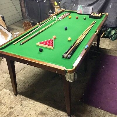 """Slate Top Snooker/Pool Table and Accessories - 86"""" x 44"""" - Good Condition"""