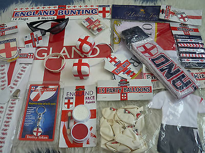 England Supporters Job lot 15 Items Loot crate British Flags Braces Facepaint